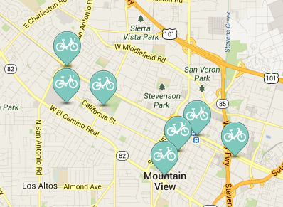 Mountain View bike share stations