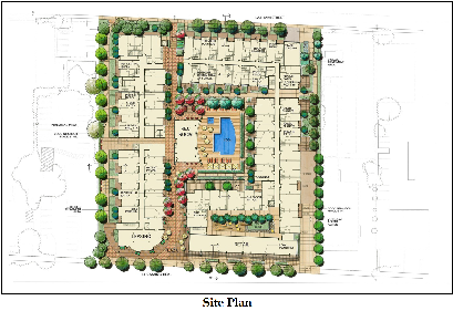 1984 El Camino Real Site Plan with pedestrian path through the site