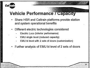 Caltrain compatibility choices